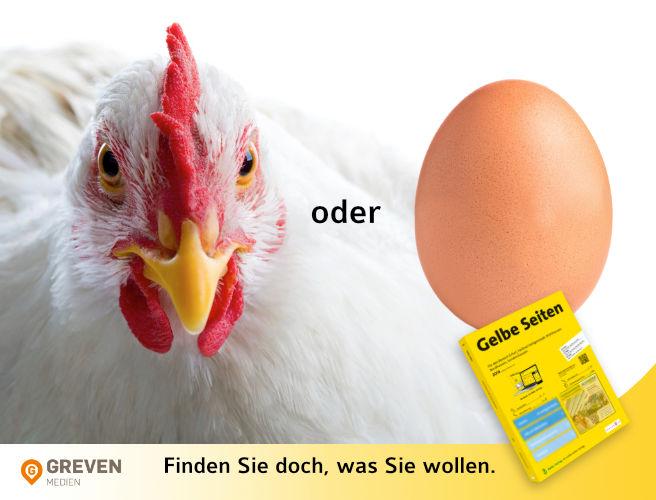 Gelbe Seiten regional Anzeige Huhn oder Ei